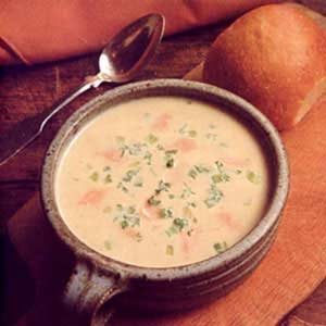 Potato Cheese Soup with Salmon Recipe