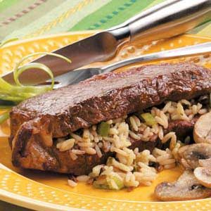 Wild Rice-Stuffed Steaks Recipe