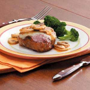 Mushroom-Swiss Lamb Chops Recipe