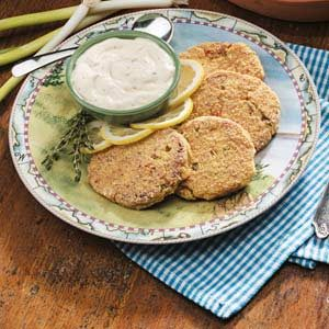 Salmon Cakes with Lemon-Herb Sauce Recipe