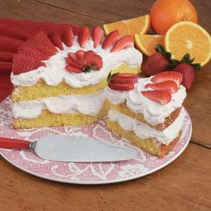 Strawberry Orange Meringue Cake