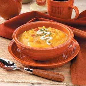 Butternut Squash Bisque with Sour Cream Topping Recipe