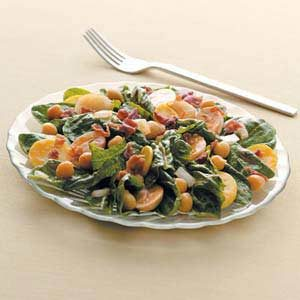 Sweet-Sour Spinach Salad with Bacon Recipe