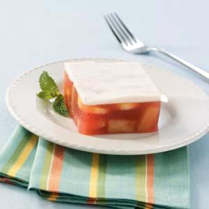 Frosted Fruit Gelatin Dessert Recipe