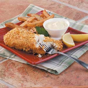 Baked fish 39 n 39 chips recipe taste of home for Baked fish and chips