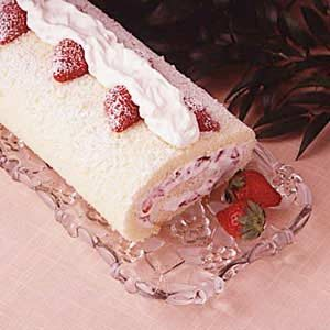 Strawberry Cream Cake Roll Recipe