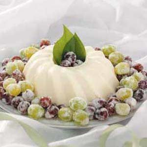 French Cream with Sugared Grapes