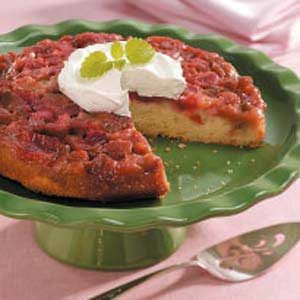 Homemade Rhubarb Upside-Down Cake