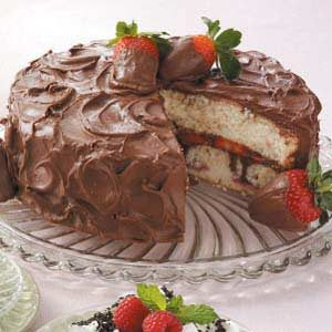 Chocolate-Covered Strawberries Cake Recipe photo by Taste of Home