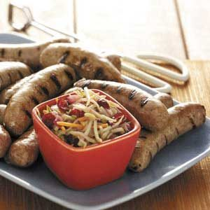 Turkey Brats with Slaw