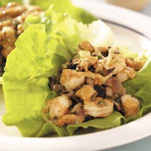 Shrimp 'n' Mushroom Lettuce Wraps Recipe