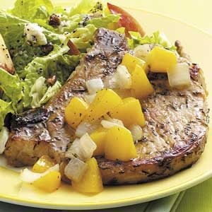 Peach-Topped Pork Chops Recipe