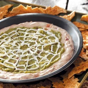 Spiderweb Dip with Bat Tortilla Chips Recipe