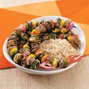 Minted Lamb 'n' Veggie Kabobs Recipe