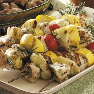 Rosemary-Skewered Artichoke Chicken Recipe