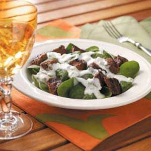 Beef Kabob Spinach Salad Recipe