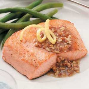Salmon with Pecan-Honey Sauce Recipe