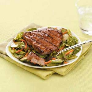 Raspberry-Chili Tuna on Greens Recipe