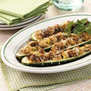 Parmesan-Pork Zucchini Boats Recipe