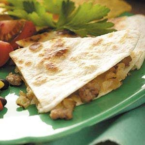 Onion Sausage Quesadillas