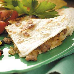 Onion Sausage Quesadillas Recipe