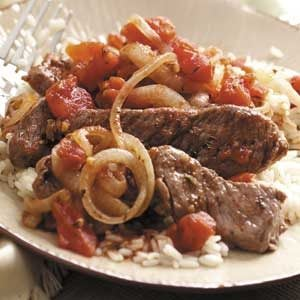 Sirloin Strips over Rice Recipe