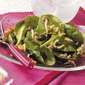 Raisin-Walnut Spinach Salad
