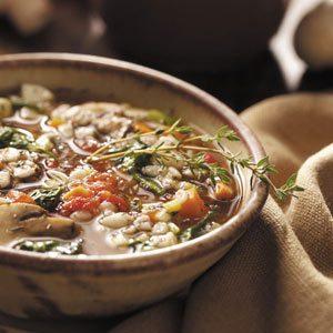 Mushroom Spinach Barley Soup Recipe