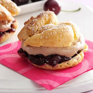 Cherry-Chocolate Cream Puffs