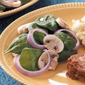 Tangy Mushroom Spinach Salad Recipe