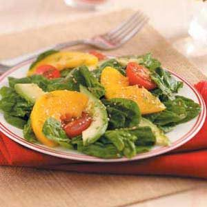 Avocado-Peach Spinach Salad Recipe