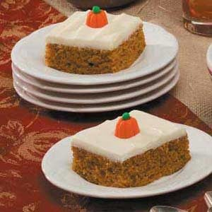 Pumpkin Spice Sheet Cake with Cream Cheese Frosting Recipe | Taste of ...