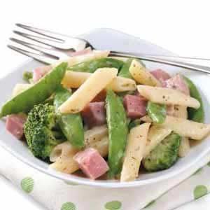 Snap Peas 'n' Ham Alfredo Recipe
