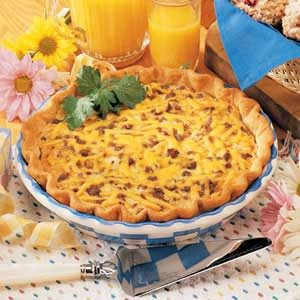 Beef and Cheddar Quiche