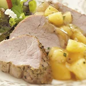 Pork with Savory Quince Compote Recipe