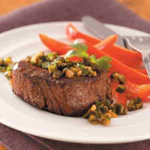 Steaks with Poblano Relish Recipe
