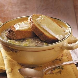 Leek Soup with Brie Toasts Recipe