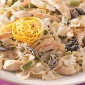 Lemony Chicken Asparagus with Bow Ties Recipe