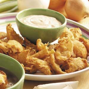 Deep-Fried Onions with Dipping Sauce