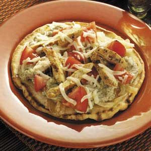 Hearty Chicken Pesto Pizzas Recipe