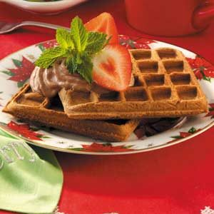 Chocolate Pecan Waffles with Strawberries Recipe
