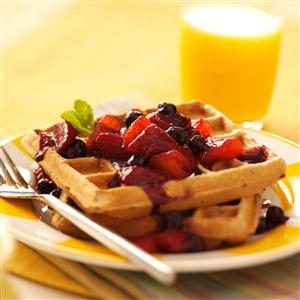 Waffles with Peach-Berry Compote Recipe