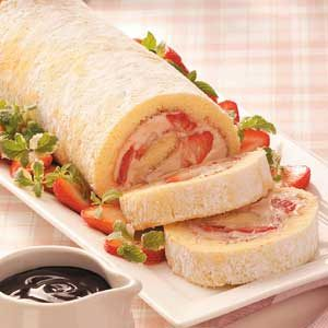 Strawberry-Mallow Cake Roll Recipe