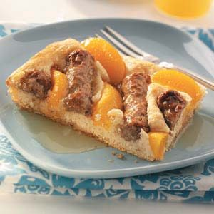 Peach & Sausage Breakfast Squares Recipe