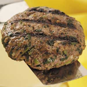 Spinach-Mushroom Beef Patties Recipe