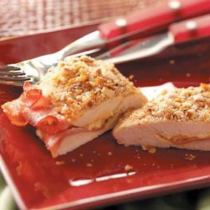 Ham Stuffed Pretzel-Crusted Chicken Recipe