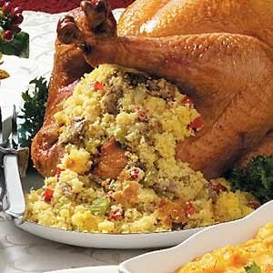 Turkey with Sausage-Corn Bread Stuffing Recipe