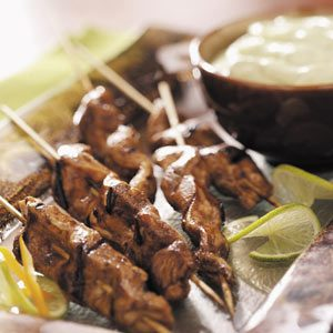Chicken Skewers with Cool Avocado Sauce Recipe