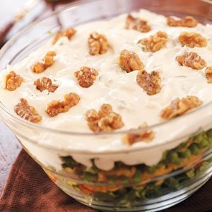 Layered Salad with Walnuts