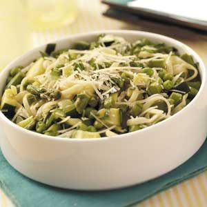 Fettuccine with Green Vegetables Recipe